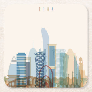 Doha, Qatar | City Skyline Square Paper Coaster