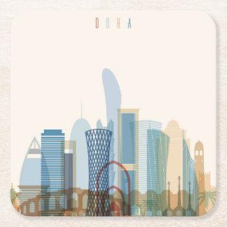 Doha, Qatar | City Skyline Square Paper Coaster