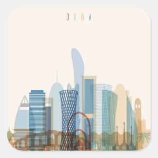 Doha, Qatar   City Skyline Square Sticker