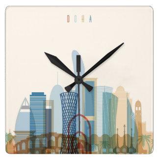 Doha, Qatar | City Skyline Square Wall Clock