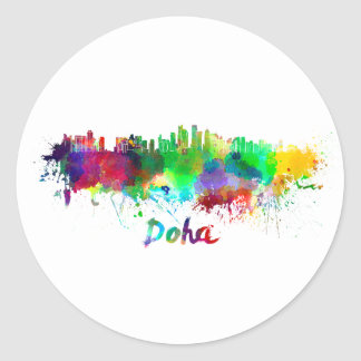Doha skyline in watercolor classic round sticker