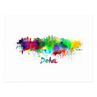Doha skyline in watercolor postcard