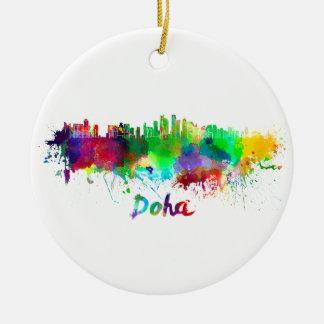 Doha skyline in watercolor round ceramic ornament