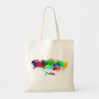 Doha skyline in watercolor tote bag