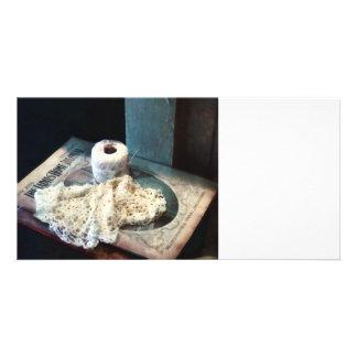 Doily and Crochet Thread Photo Card