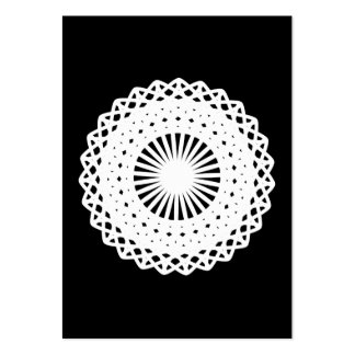 Doily. White lace circle. On Black. Pack Of Chubby Business Cards
