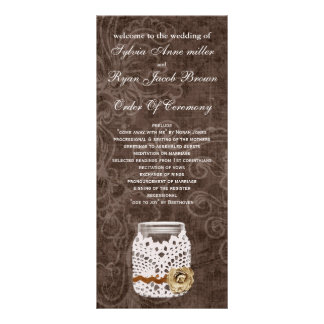 doily wrap brown rustic mason jar  Wedding program Full Color Rack Card