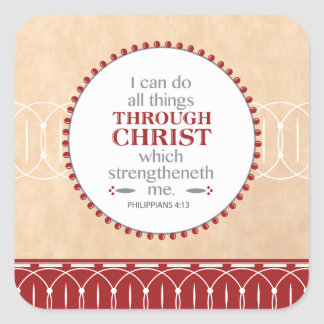 Doing all things through Christ Square Sticker