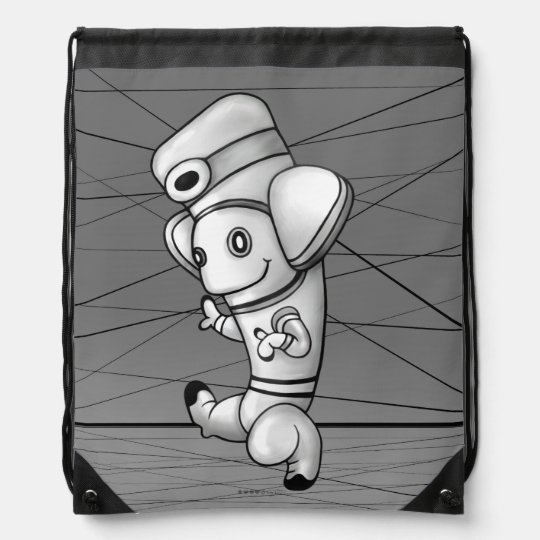 DOKO ALIEN ROBOT CARTOON Drawstring Backpack