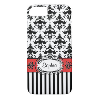 Dolce Vita Retro Red, Black and White Damask Case-Mate iPhone Case