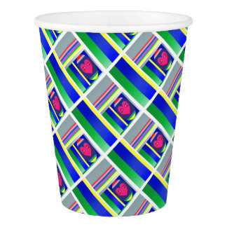 Doll babushka colorful apstract paper cup