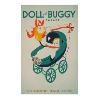 Doll & Buggy Parade Vintage Poster