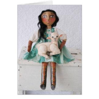 Doll & Lamb Easter Card