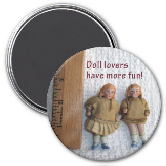 Doll Lovers Twin Antique Doll Magnets, Round Magnet