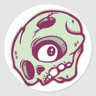 DOLLA round skullie slap Classic Round Sticker