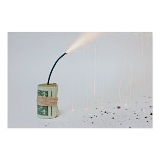 Dollar Bomb on Light Background Poster