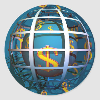 Dollar Globe Round Sticker