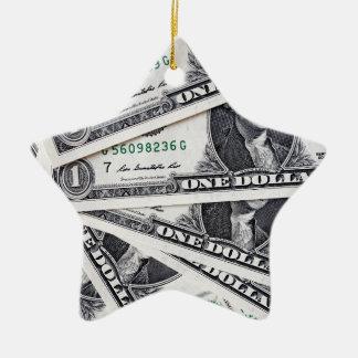 Dollar notes 1 Dollar Ceramic Star Ornament