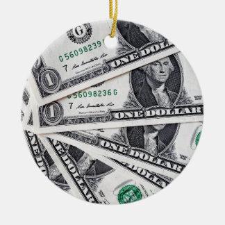 Dollar notes 1 Dollar Round Ceramic Ornament
