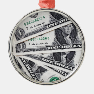 Dollar notes 1 Dollar Silver-Colored Round Ornament