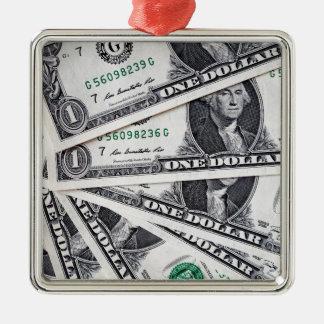 Dollar notes 1 Dollar Silver-Colored Square Ornament