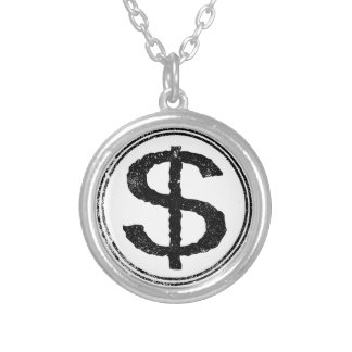 Dollar Rubber Stamp Silver Plated Necklace