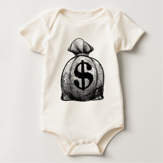Dollar Sign Burlap Sack or Money Bag Baby Bodysuit