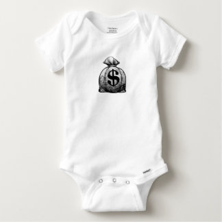 Dollar Sign Burlap Sack or Money Bag Baby Onesie