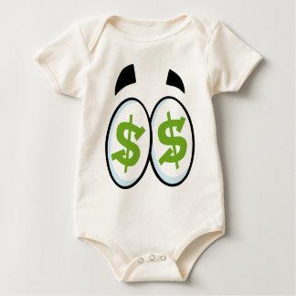 Dollar Sign Cartoon Eyes Money Cash Baby Bodysuit