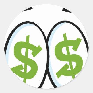 Dollar Sign Cartoon Eyes Money Cash Classic Round Sticker