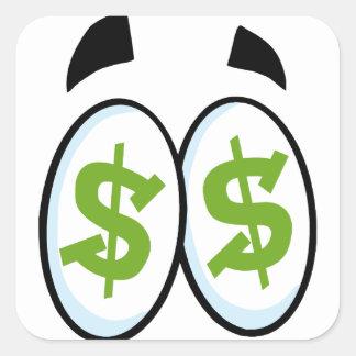 Dollar Sign Cartoon Eyes Money Cash Square Sticker