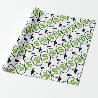 Dollar Sign Cartoon Eyes Money Cash Wrapping Paper
