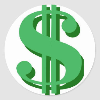 $ dollar-sign classic round sticker