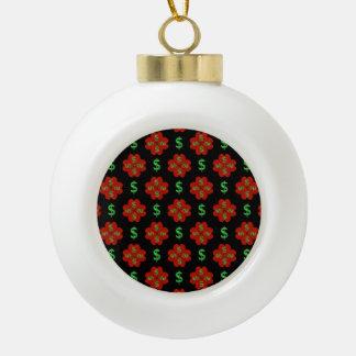 Dollar Sign Graphic Pattern Ceramic Ball Ornament