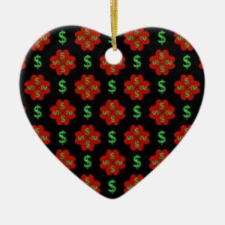 Dollar Sign Graphic Pattern Ceramic Heart Ornament