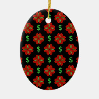Dollar Sign Graphic Pattern Ceramic Oval Ornament