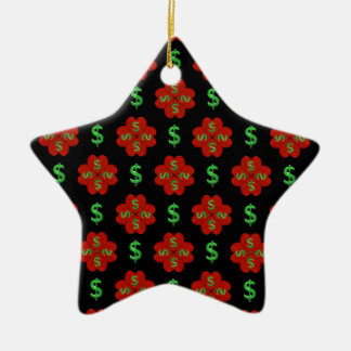 Dollar Sign Graphic Pattern Ceramic Star Ornament