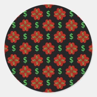 Dollar Sign Graphic Pattern Classic Round Sticker