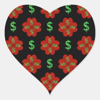 Dollar Sign Graphic Pattern Heart Sticker