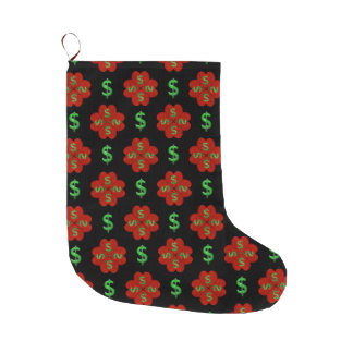 Dollar Sign Graphic Pattern Large Christmas Stocking