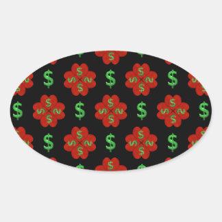 Dollar Sign Graphic Pattern Oval Sticker