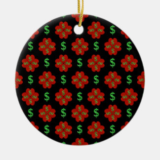 Dollar Sign Graphic Pattern Round Ceramic Ornament