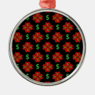 Dollar Sign Graphic Pattern Silver-Colored Round Ornament