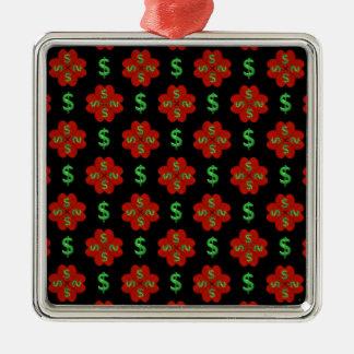 Dollar Sign Graphic Pattern Silver-Colored Square Ornament