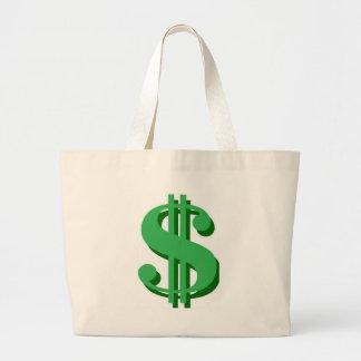 $ dollar-sign jumbo tote bag