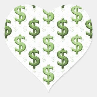 Dollar Sign Pattern Heart Sticker