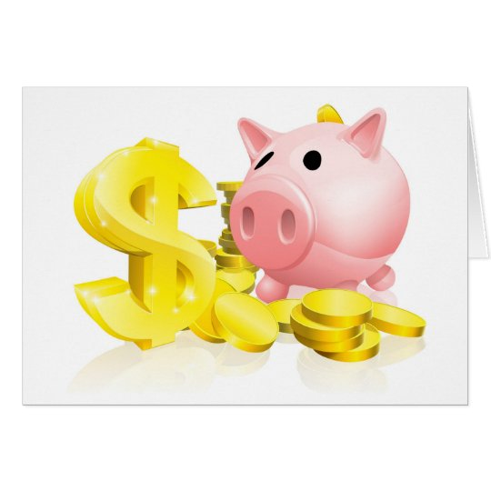 Dollar sign piggy bank card