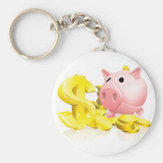 Dollar sign piggy bank keychain