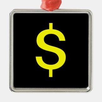 Dollar Sign Silver-Colored Square Ornament