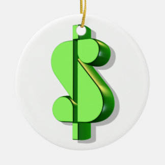 dollar sign value and success ceramic ornament